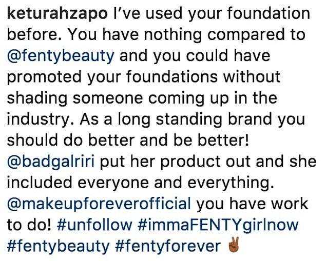 Çünkü tam Fenty Beauty 40 farklı fondöteniyle adından söz ettirirken bu göndermenin yapılması hoş olmamıştı...
