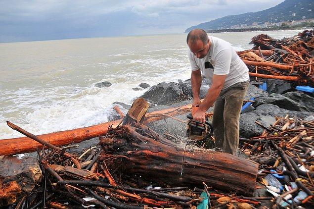 Yağmurun dinmesiyle birlikte kıyıda toplanan çok sayıda kişi, testerelerle kestikleri odunları toplamaya başladı.