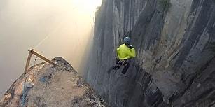 240 Metre Yükseklikten, Sadece Tırmanma İpiyle Kendini Boşluğa Bırakan Çılgın Adam