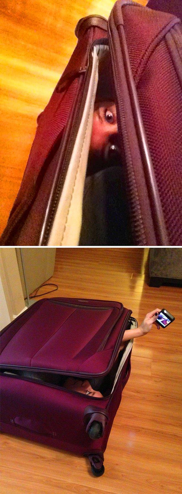 """31. """"Kocam yeni bavuluma sığıp sığamayacağım konusunda bana meydan okudu. Ona bu fotoğrafı gönderdim."""""""