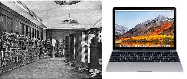 3. Sadece hesap makinesi görevi görebilen ilk bilgisayar Eniac'tan, günümüzün diz üstü bilgisayarlarına.
