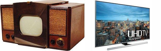 11. Dünyanın 1946 yılında gördüğü ilk siyah beyaz televizyondan, günümüz ultra hd televizyonlarına.