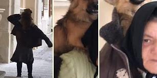 Kendisi Gibi Sokakta Yaşayan Köpeği Üşümesin Diye Montunun İçine Alan Evsiz Kadın