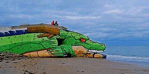 Eski Bir Yapının Sokak Sanatçılarının Elinde Dragon Ball'daki Shenron'a Dönüşümü