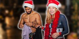 Vücut Boyama Sanatıyla Noel Kıyafeti Giyen Modelin New York Sokaklarında Gezmesi