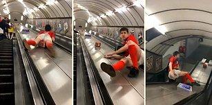 Metro Merdivenlerinden Kayarak İnmeye Çalışan Alkollü Taraftarın Acı Sonu
