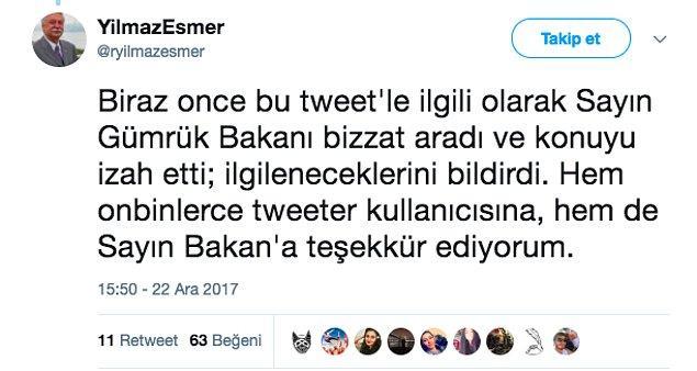 Nihayet Yılmaz Esmer'in attığı ve onbinlerce etkileşim alan tweet sayesinde bir geri dönüş oldu ve bu sorunla ilgilenileceği söylendi. Umarız da böyle olur.