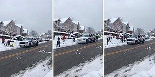 Kanada Polisinin Kar Topu Oynayan Çocuklarla Birlikte Oynaması