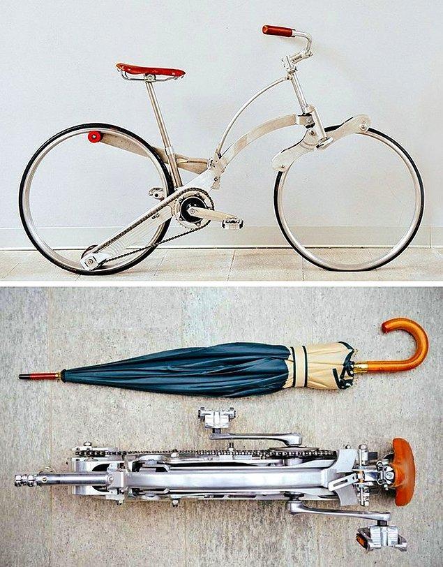 18. Bisiklet tutkunlarının gözlerinden kalpler fışkırtacak, şemsiye boyutuna katlanabilen, heryere götürebileceğiniz bir bisiklet.