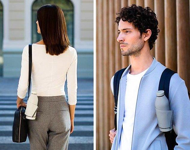 24. İster omuz, ister sırt çantasına takılabilen termos.