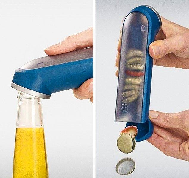 25. Şişe kapaklarını içinde tutan şişe açacağı.