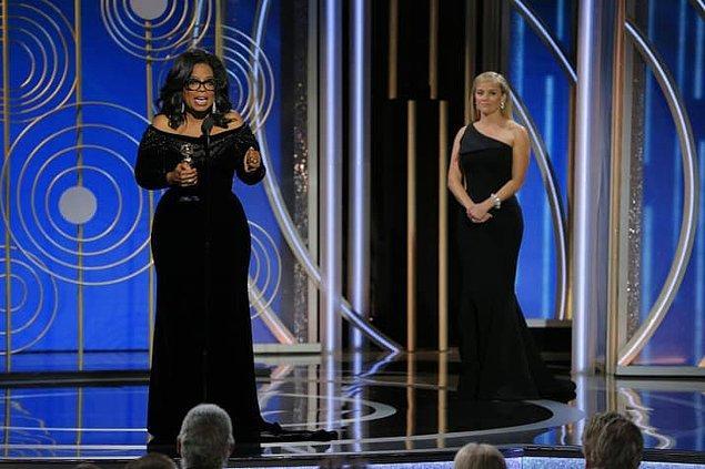 Ödül gecesinde ünlü TV programcısı Oprah Winfrey, Cecil B. DeMille Ödülü'nü alan ilk Afro-Amerikalı kadın oldu.