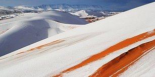 Dünyanın En Büyük Çölü Olan Sahra'nın Bir Bölgesi Karlar Altında Kaldı