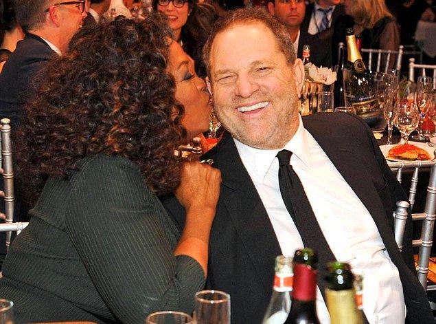 Oprah ve Weinstein 2014 yılında Critic's Choice Awards gecesinde. Yanlış görmüyorsunuz, Oprah, Harvey Weinstein'in kulak memesini ağzına almış.