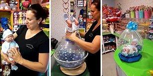 Hediye Paketinde Son Nokta: Balon İçinde Oyuncak Bebek