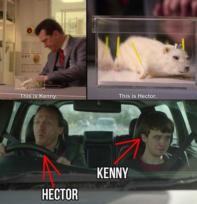 """25. Rolo Haynes'in üzerlerinde deney yapmaktan bahsettiği farelerin isimleri Kenny ve Hector, bu isimler 3. sezondaki """"Shut Up and Dance"""" bölümünün ana karakterlerinin isimleri."""