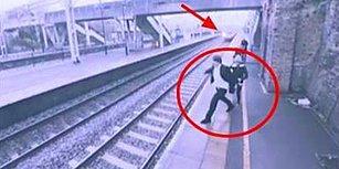 Trenin Önüne Atlayarak İntihar Etmek Üzere Olan Adamı Son Anda Kurtaran Kahraman Kadın