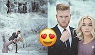 Mutluluğa Buzlu Yollardan Gittiler! Nişan Fotoğraflarını Donmuş Şelalede Çektiren Doğa Aşığı Çift