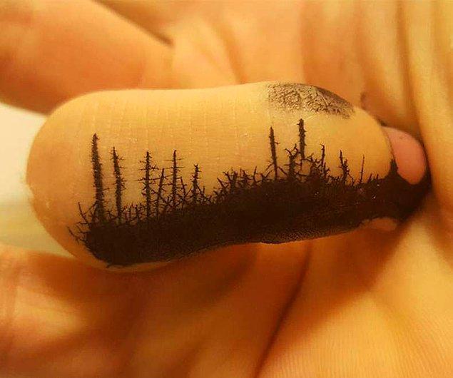 6. Boya bulaşmış parmak değil sanırsın alaca karanlık kuşağı.