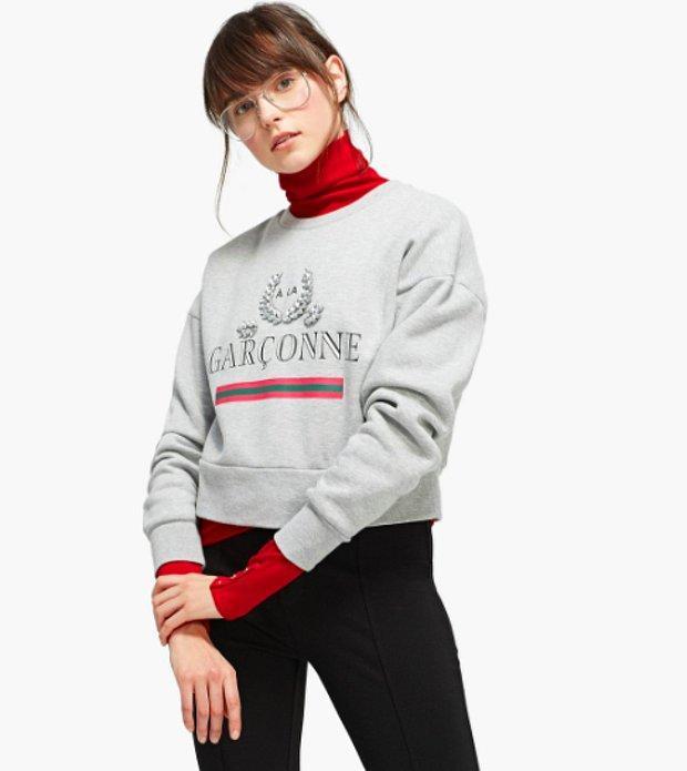 Baskılı ve taşlı sweatshirt