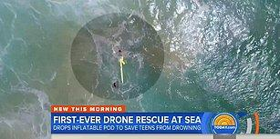 Dalgalar Yüzünden Ekiplerin Ulaşamadığı İki Kişiye Cankurtaran Drone Ulaştı!