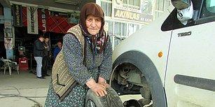 'Yaş 70, İş Bitmiş' Diyenlere İnat! 78 Yaşında Lastik Tamiri Yapan Vesile Nine