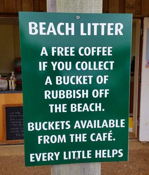3. Sahilden bir kova çöp toplayanlara ücretsiz kahve veren bu harika kahveci ♻️