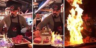 Nusret'e Özenen Şefin Masada Et Pişirme Şovu Kötü Bitti