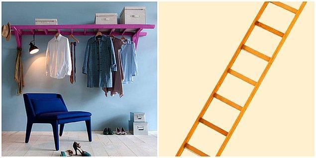 12. Ahşap Merdivenden Elbise Askılığı