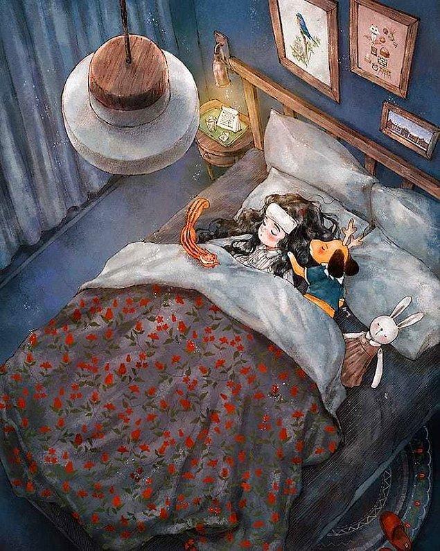7. Her bir illüstrasyon, yalnız kalmanın daima gözden kaçan huzurlu ve mutlu yanlarını vurgular nitelikte.