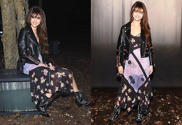 Genç pop starımız Selena Gomez ise etnik detaylı kombini ve uzun saçlarıyla 70'ler esintili bir stille defilelerin ön sıralarında yerini alırken...