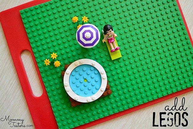 7. Lego veya cırt cırt kumaş ile hazırlanan tatil, okul, restoran temalı oyun tahtası