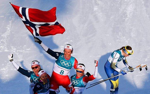 23. Kış Olimpiyatları'nda 14 altın, 14 gümüş ve 11 bronz madalya kazanan Norveç, madalya tablosunu zirvede tamamladı.