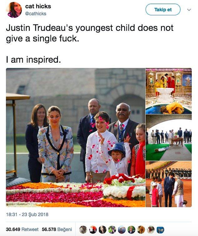 20. Justin Trudeau'nun en küçük oğlunun hiçbir şey umrunda değil. Bana da ilham veriyor.