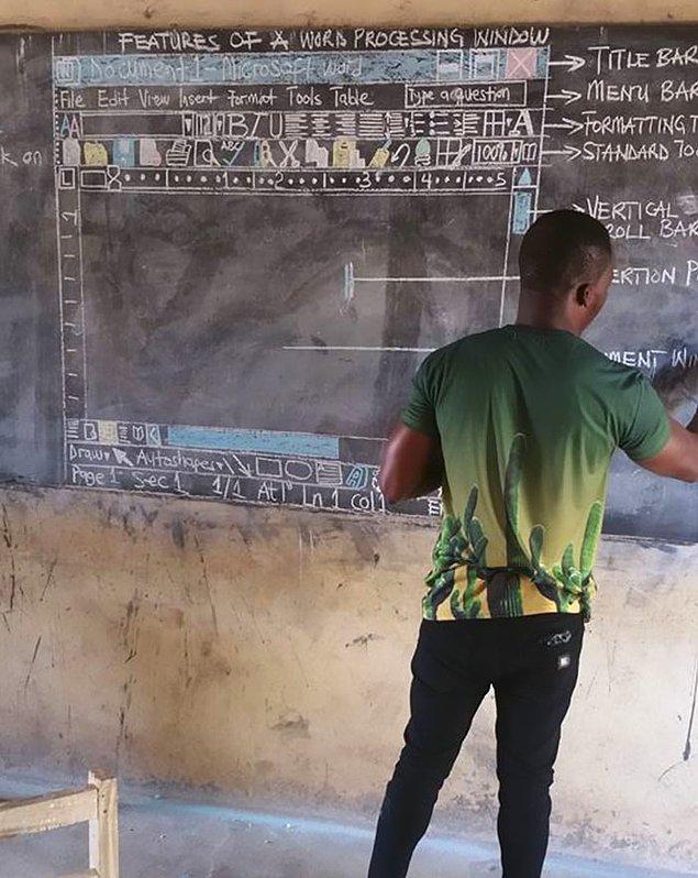 Öğrencilerine nasıl Word belgesi oluşturulacağını öğretirken karşılarında bir bilgisayar varmış gibi ekranın tamamını tahtaya çizdi.