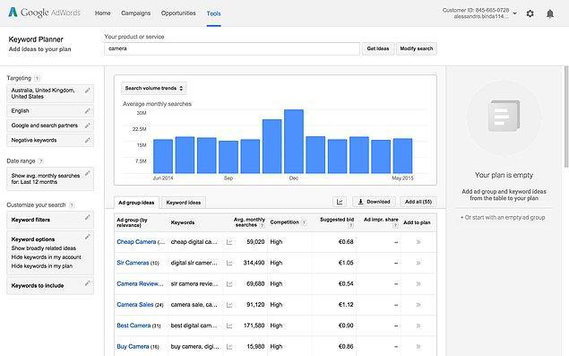 Google Keyword Planner kullanabileceğiniz araçlar arasında yer alıyor.
