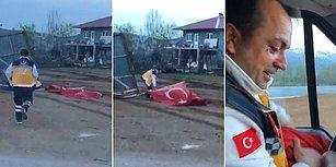 Fırtınadan Dolayı Yere Düşen Türk Bayrağını Yerde Bırakmayan Koca Yürekli Ambulans Şoförü