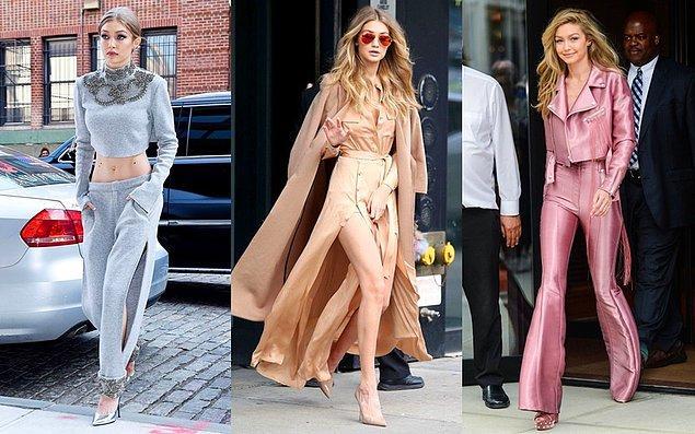 Kendall gibi Gigi Hadid de monokrom stili en çok uygulayanlardan. Birbirinden güzel ve farklı renklerin tonlarıyla derinleştirdiği stiliyle göz kamaştırıyor her zaman.