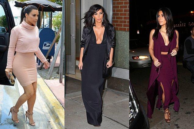 Kim Kardashian daha klasik renklerle monokrom modasına ayak uydururken...