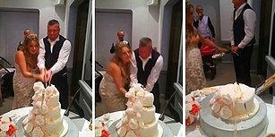 Düğün Pastası Kesen Damadın Kendinden Geçip Pastayı Murdar Ettiği Anlar