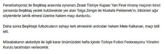 Fenerbahçe'den açıklama;