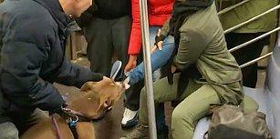 Metroda İnsan Dostuyla Tartışan Kadının Ayağını Isıran Köpek