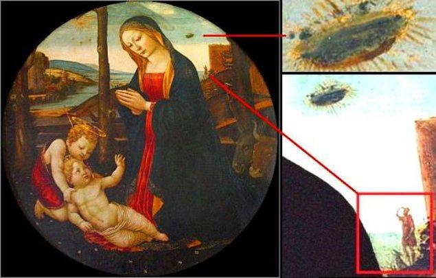 2. On beşinci yüzyılda Domenico Ghirlandaio tarafından çizilen dünyaca ünlü bu tabloda yer alan UFO benzeri cismin sırrı yıllardır çözülemiyor.