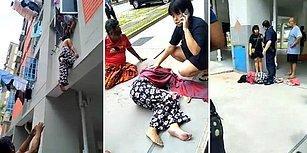 Temizlik Yaparken Camdan Düşen Kadını Saçından Yakalayan Adam