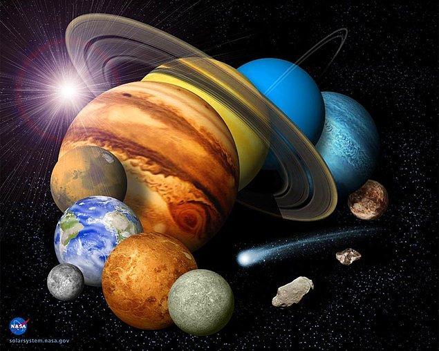1. Merkür, Venüs, Dünya, Mars, Jüpiter, Satürn, Uranüs, Neptün, Plüton, Ay ve Güneş Sistemindeki diğer tüm objeler, Güneş Sisteminin toplam kütlesinin %0.2'sini oluşturuyor. Kalan %99.8'lik kısımsa tek başına Güneş'e ait.