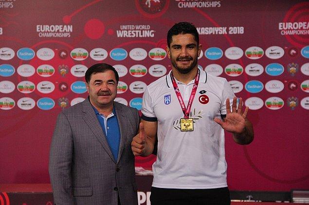 Milli güreşçi, 6. kez Avrupa şampiyonu olarak Türk sporcular arasında serbest stilde kendisine ait rekoru geliştirdi.