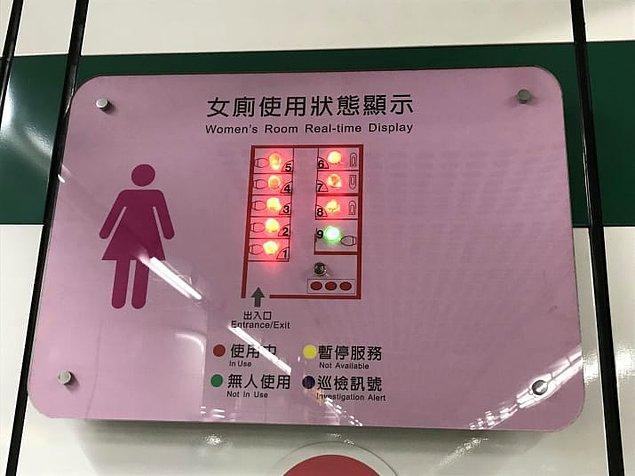 7. Tuvaletlerin dolu olup olmadığını gösteren bu sistem ile artık kazaya kurban gitme ihtimaliniz yok!