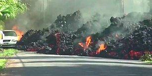 Saniyeler İçinde Bir Aracı Yutan Volkanik Lavlar