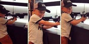 Tüfeğin Nasıl Ateşleneceğini ve Mermi Sürüleceğini Gösteren 4 Yaşındaki Çocuk