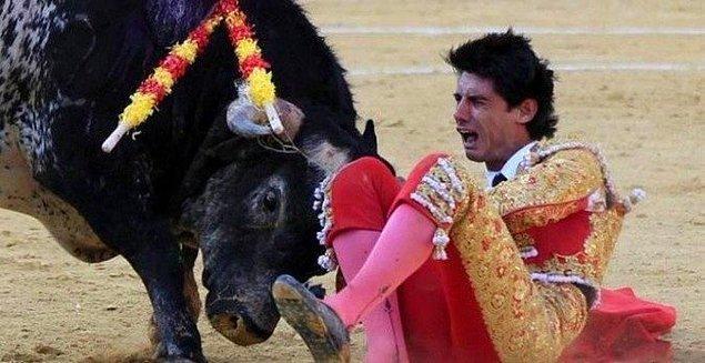 2. Bir matadorun boğa tarafından öldürülmeden önceki son fotoğrafı.